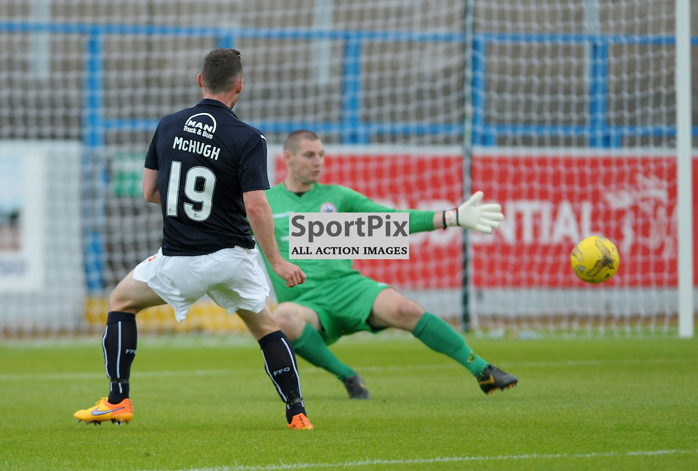 Bob McHugh (Falkirk, blue) misses a great chance to equalise<br /> <br /> Stirling Albion v Falkirk, Betfred Cup, Saturday 16th July 2016 <br /> <br /> (c) Alex Todd | SportPix.org.uk