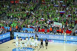 08-09-2015 CRO: FIBA Europe Eurobasket 2015 Slovenie - Nederland, Zagreb<br /> De Nederlandse basketballers hebben de kans om doorgang naar de knockoutfase op het EK basketbal te bereiken laten liggen. In een spannende wedstrijd werd nipt verloren van Slovenië: 81-74 / Players greet their fans after basketball match between Slovenia vs Netherlands at Day 4 in Group C of FIBA Europe Eurobasket 2015, on September 8, 2015, in Arena Zagreb, Croatia. Photo by Matic Klansek Velej / RHF