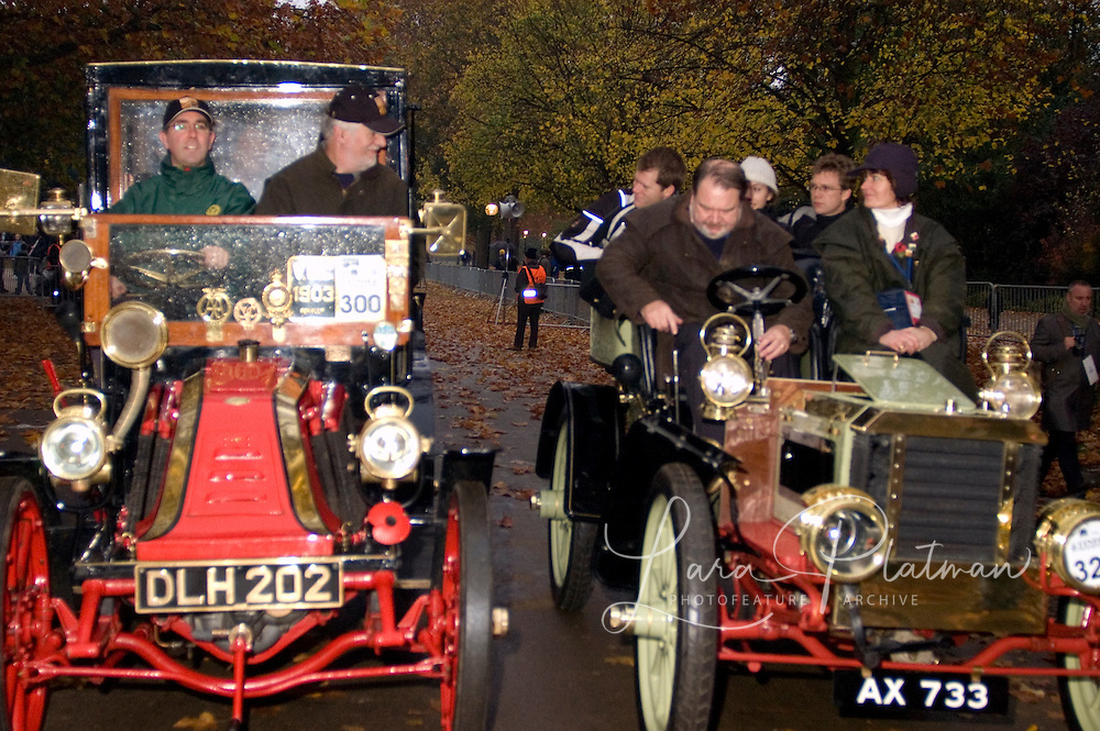 Veteran Motor cars at the start line in Hyde Park , London