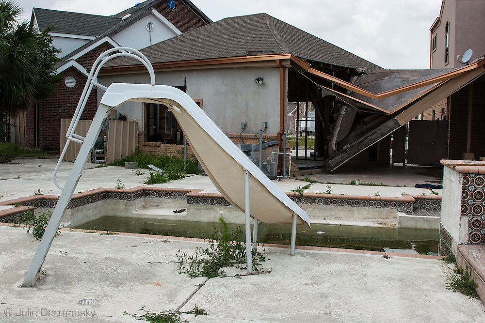 Home destroyed by Hurricane Katrina a year and a half after the storm in New Orleans East.