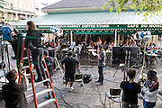Live production of AMHQ, the Weather Channel's morning television show from Cafe du Monde in the French Quarter in New Orleans