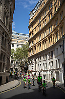 Cyclists head ing towards Westminster. The Prudential RideLondon FreeCycle. Saturday 28th July 2018<br /> <br /> Photo: Ian Walton for Prudential RideLondon<br /> <br /> Prudential RideLondon is the world's greatest festival of cycling, involving 100,000+ cyclists - from Olympic champions to a free family fun ride - riding in events over closed roads in London and Surrey over the weekend of 28th and 29th July 2018<br /> <br /> See www.PrudentialRideLondon.co.uk for more.<br /> <br /> For further information: media@londonmarathonevents.co.uk