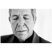Portrait of Canadian singer/ songwriter and poet Leonard Cohen at the Oslo Plaza when he visited Oslo in 1996