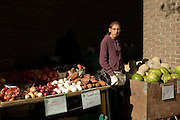 A young vendor outside Toronto's St. Lawrence Market on an autumn day, selling fresh onions, potatoes and watermelons.