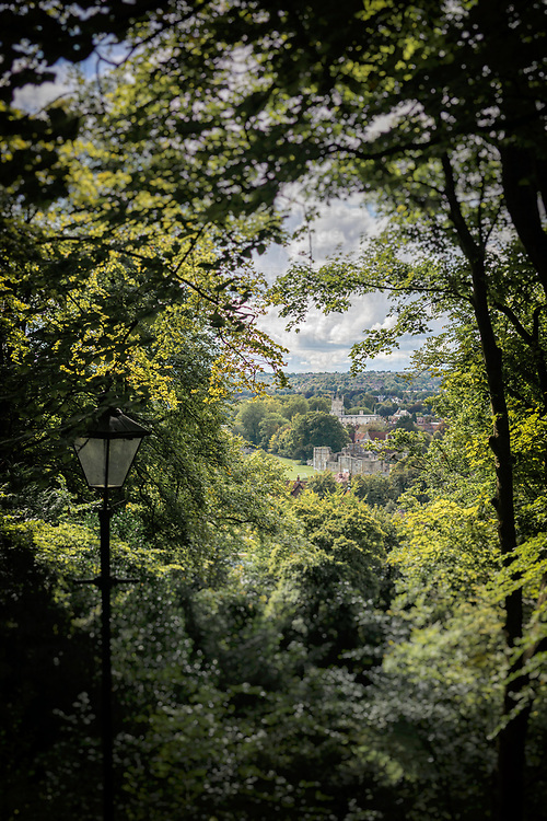 A high view through summer woodland to the distant buildings of St Cross in Winchester, Hampshire, England