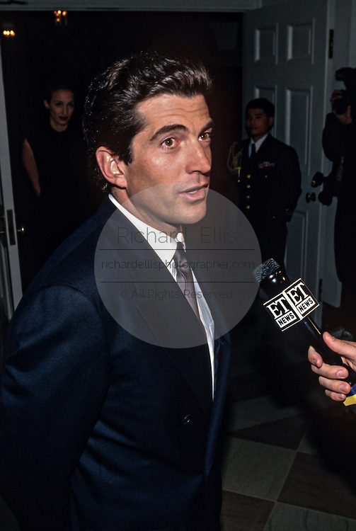 John Kennedy, Jr arrives for the State Dinner for British Prime Minister Tony Blair at the White House February 5, 1998 in Washington, DC.