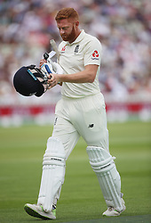 England batsman Jonny Bairstow shows his dejection after he was out for 28 to India bowler Mohammed Shami during day three of the Specsavers First Test match at Edgbaston, Birmingham.