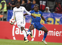 Cape Town-181002- Cape Town City's Allan Kateregga challenges Deon Hotto of Bidvest Wits in a PSL clash at Cape Town Stadium.Cape town City come to this game with high confidence after winning the MTN 8 cup over the weekend,while Wits will be fighting for the the top spot they have lost after some poor display in their last two games.Photographs:Phando Jikelo/African News Agency/ANA