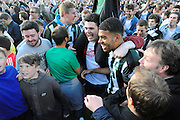 Plymouth Argyle's Jake Jervis celebrates reaching the play-off finals with the Argyle fans who invaded the pitch after the home team scored the winning goal during the Sky Bet League 2 play off first leg match between Plymouth Argyle and Portsmouth at Home Park, Plymouth, England on 15 May 2016. Photo by Graham Hunt.