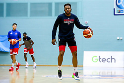Panos Mayindombe of Bristol Flyers warms up - Mandatory by-line: Robbie Stephenson/JMP - 05/10/2018 - BASKETBALL - University of Worcester Arena - Worcester, England - Bristol Flyers v Worcester Wolves - British Basketball League