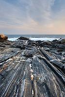 Striated metamorphic rocks of Pemaquid Point, Bristol Maine
