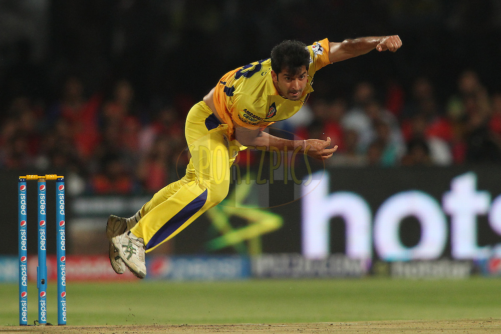 Mohit Sharma of Chennai Super Kings sends down a delivery during match 20 of the Pepsi IPL 2015 (Indian Premier League) between The Royal Challengers Bangalore and The Chennai Superkings held at the M. Chinnaswamy Stadium in Bengaluru, India on the 22nd April 2015.<br /> <br /> Photo by:  Shaun Roy / SPORTZPICS / IPL