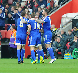 Ipswich players celebrate Darren Ambrose's opening goal at St Mary's Stadium - Photo mandatory by-line: Paul Knight/JMP - Mobile: 07966 386802 - 04/01/2015 - SPORT - Football - Southampton - St Mary's Stadium - Southampton v Ipswich Town - FA Cup Third Round