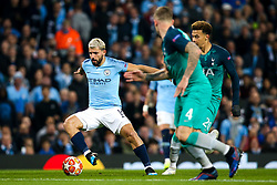Sergio Aguero of Manchester City takes on Dele Alli and Toby Alderweireld of Tottenham Hotspur - Mandatory by-line: Robbie Stephenson/JMP - 17/04/2019 - FOOTBALL - Etihad Stadium - Manchester, England - Manchester City v Tottenham Hotspur - UEFA Champions League Quarter Final 2nd Leg