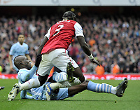 Premier League Arsenal v Manchester City<br />Mario Balotelli brings down Bacary Sagna for red card