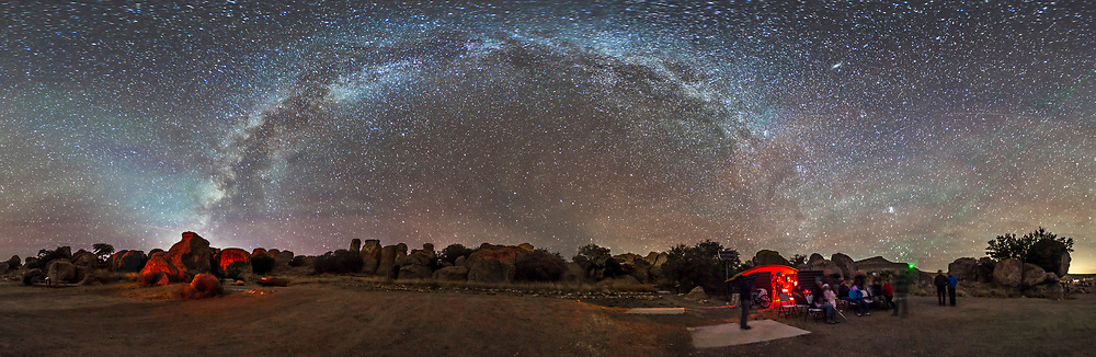 A stargazing session under the autumn Milky Way, at the City of Rocks State Park, New Mexico, at the Park Observatory in the Orion Group Camping Area, Nov 22, 2014. The Milky Way arches from horizon to horizon in this 360&deg; panorama, from Sagittarius setting at left to Taurus rising at right. At left to the west is the last glow of twilight plus the Zodiacal Light climbing up to the left in the southwest. To the east at centre and to the south at right are some bands of green airglow. At far right is the horizon glow from the lights of Deming, NM. <br /><br />This is a panorama of 8 segments, at 45&deg; spacings, shot with the 15mm full-frame fish-eye lens in portrait orientation, with each segment a 1-minute exposure at f/2.8 and ISO 3200 with the Canon 6D. Noise reduction turned on. The segments were stitched with PTGui.