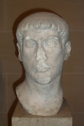 Marble head believed to be Emperor Maxentius. Roman Emperor from 306-312 AD. Made circa first decade of the 4th century.