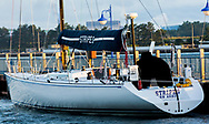 The classic sailing yacht Stripes getting ready to race in the Trans Superior International Yacht Race.