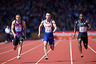 Adam Gemili GBR (left) and Richard Kilty GBR (centre) and Marvin Bracy USA competing in the 100m heat during the IAAF  Diamond League Sainsbury's Birmingham Grand Prix at Alexander Stadium, Birmingham<br /> Picture by Alan Stanford/Focus Images Ltd +44 7915 056117<br /> 07/06/2015