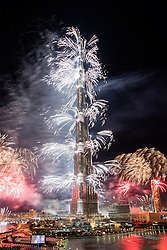 Fireworks fired from Burj Khalifa Tower at midnight on December 31st 2013 to celebrate New Year 2014 in Dubai United Arab Emirate