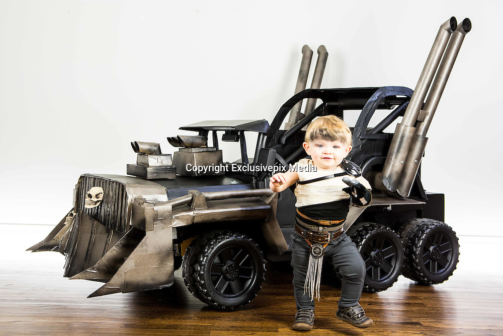 This Halloween, four-year-old Cooper and 11-month-old sister Ziggy are very lucky children. Their parents, Cory and Jeremy Newton-Smith have created a war rig for them from the film Mad Max: Fury Road and Cooper and Ziggy are characters Max and Furiosa.<br />  <br /> Both Cory and Jeremy are software engineers and used their knowledge to make the high-tech rig. The car is made out of second-hand PowerWheels and has been enhanced with cardboard and paint. It is powered by four motors and has a throttle, power steering, keyed ignition and sound effects with a pull cord air-horn. A remote controlled iPhone app also allows Ziggy to be able to drive. All in all, a child's dream!<br /> &copy;Exclusivepix Media