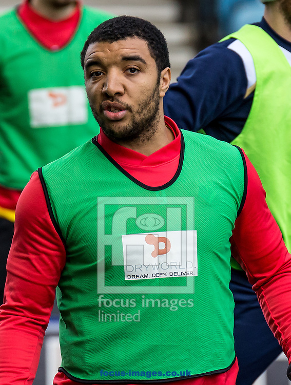 Troy Deeney of Watford warms up during the FA Cup match at The Den, London<br /> Picture by Liam McAvoy/Focus Images Ltd 07413 543156<br /> 29/01/2017