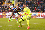 Chelsea goalkeeper Thibaut Courtois (13)  sets himself  during the Premier League match between Burnley and Chelsea at Turf Moor, Burnley, England on 12 February 2017. Photo by Simon Davies.