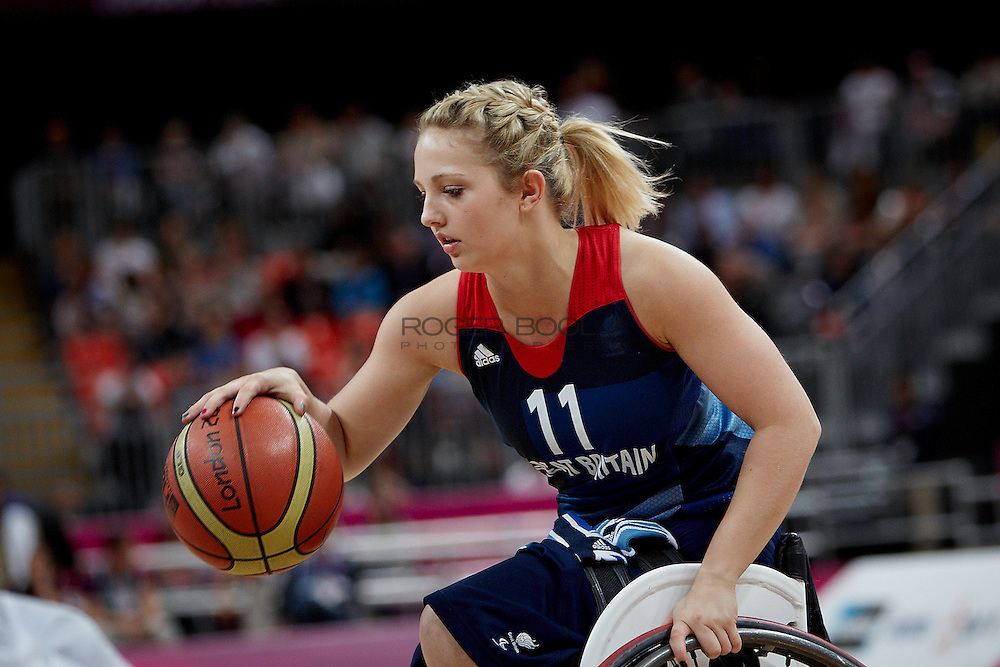 Madeleine Thompson of the Gerat Britain women's Wheelchair Basketball team plays at the Paralympic Basketball Arena in their 42-37 win over Brazil on day 3 of the London 2012 Paralympic Games. 1st September 2012.