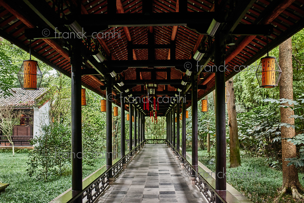 Chengdu, China - September 21, 2014: Du Fu thatched Cottage park in honour of the Tang Dynasty poe in Chengdu Sichuan China