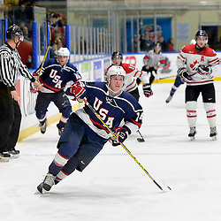 WHITBY, - Dec 18, 2015 -  Game #12 - Bronze Medal Game, Team Canada East vs. United States at the 2015 World Junior A Challenge at the Iroquois Park Recreation Complex, ON. Josh Wilkins #14 of Team United States during the first period.<br /> (Photo: Shawn Muir / OJHL Images)