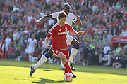 Middlesbrough forward, on loan from Watford, Diego Fabbrini gets away from Leeds United defender Souleymane Bamba    during the Sky Bet Championship match between Middlesbrough and Leeds United at the Riverside Stadium, Middlesbrough, England on 27 September 2015. Photo by Simon Davies.