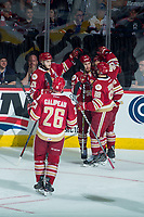 REGINA, SK - MAY 20: Olivier Galipeau #26, Antoine Morand #88, Noah Dobson #53 and Félix-Antoine Drolet #55 of Acadie-Bathurst Titan celebrate a goal against the Regina Pats at the Brandt Centre on May 20, 2018 in Regina, Canada. (Photo by Marissa Baecker/CHL Images)