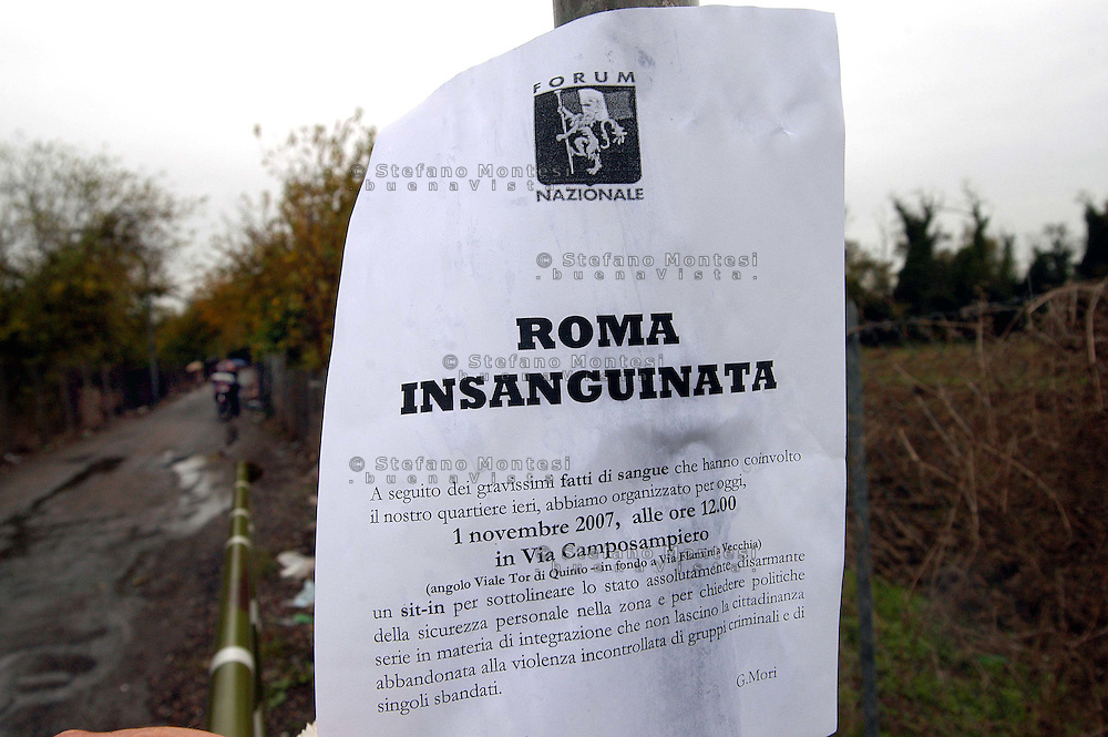Rome  November 1 2007.Vacated Rom's  illegal camp by police in a  area near Tor di Quinto train station inhabited by Romanian Romani  .Here a 47-year-old italian woman, Giovanna Reggiani was killed after an aggression by a Romanian Romani.flier of protest.
