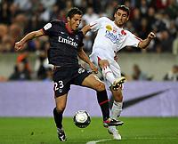 FOOTBALL - FRENCH CHAMPIONSHIP 2009/2010  - L1 - PARIS SAINT GERMAIN v AS NANCY - 03/10/2009 - <br />  -  JEREMY CLEMENT (PSG) / JULIEN FERET (NAN) <br /> <br /> Norway only