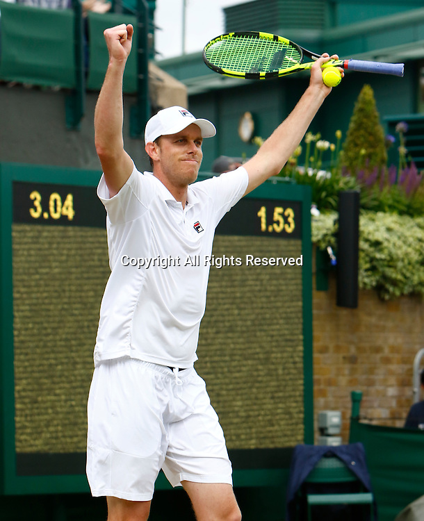 04.07.2016. All England Lawn Tennis and Croquet Club, London, England. The Wimbledon Tennis Championships Day 8. Sam Querry (USA) celebrates his straight sets win over Nicolas Mahut (FRA).