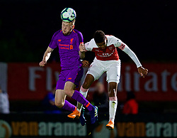 LONDON, ENGLAND - Friday, August 17, 2018: Liverpool's George Johnston (left) and Arsenal's Tyreece John Jules during the Under-23 FA Premier League 2 Division 1 match between Arsenal FC and Liverpool FC at Meadow Park. (Pic by David Rawcliffe/Propaganda)