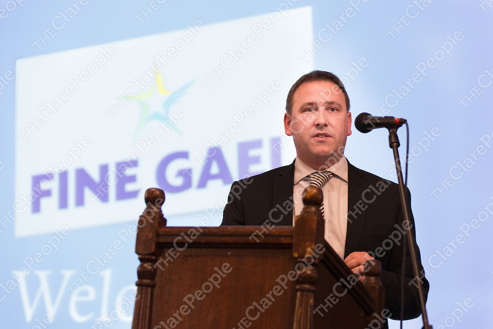 Joe Carey, TD, makes a speech before the election at the Fine Gael Election Convention