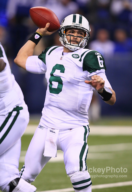 Jan. 08, 2011; Indianapolis, IN, USA; New York Jets quarterback Mark Sanchez (6) passes the ball against the Indianapolis Colts during the 2011 AFC wild card playoff at Lucas Oil Stadium. Mandatory credit: Michael Hickey-US PRESSWIRE