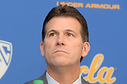 Nov 15, 2017; Los Angeles, CA, USA; UCLA Bruins coach Steve Alford reads statement during a press conference at Pauley Pavilion regarding arrest of freshman players Jalen Hill, LiAngelo Ball and Cody Riley (not pictured) in China for shoplifting.