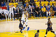 Golden State Warriors forward Kevin Durant (35) dunks the ball against the Cleveland Cavaliers during Game 1 of the NBA Finals at Oracle Arena in Oakland, Calif., on June 1, 2017. (Stan Olszewski/Special to S.F. Examiner)
