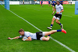 Ruaridh McConnochie scores the opening try of the match, Bath Rugby were allowed to start Stage Two of the Premiership Rugby return to play protocol - Mandatory byline: Patrick Khachfe/JMP - 07966 386802 - 06/08/2020 - RUGBY UNION - The Recreation Ground - Bath, England - Bath Rugby training