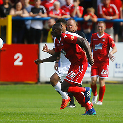 Wrexhams midfielder Akil Wright on the ball during the opening National League match between Dover Athletic and Wrexham FC at Crabble Stadium, Kent on 04 August 2018. Photo by Matt Bristow.