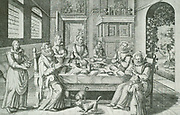 A well-to-do Dutch family (seventeenth century) round the large dinner-table at prayer.  The meaning of the vine and the olive-branches is - thy wife shall be as a fruitful vine by the sides of thine house, thy children like olive plants around about thy table.