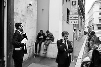 """ROMA - 15 MAGGIO 2013: Il sindaco di Roma Gianni Alemanno interviene all'Assemblea di Confesercenti """"Ripartiamo dalle Imprese"""" a Tempio di Adriano a Roma il 15 maggio 2013."""