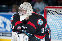 KELOWNA, CANADA, OCTOBER 16 - Jordon Cooke #30 defends the net against the Lethbridge Hurricanes on Wednesday, October 16, 2013 at Prospera Place in Kelowna, British Columbia (photo by Marissa Baecker/Getty Images)***Local Caption***