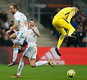 AS Monaco's Croatian goalkeeper Danijel Subasic jumps during the French Championship Ligue 1 football match between Olympique de Marseille and AS Monaco on January 28, 2018 at the Orange Velodrome stadium in Marseille, France - Photo Benjamin Cremel / ProSportsImages / DPPI