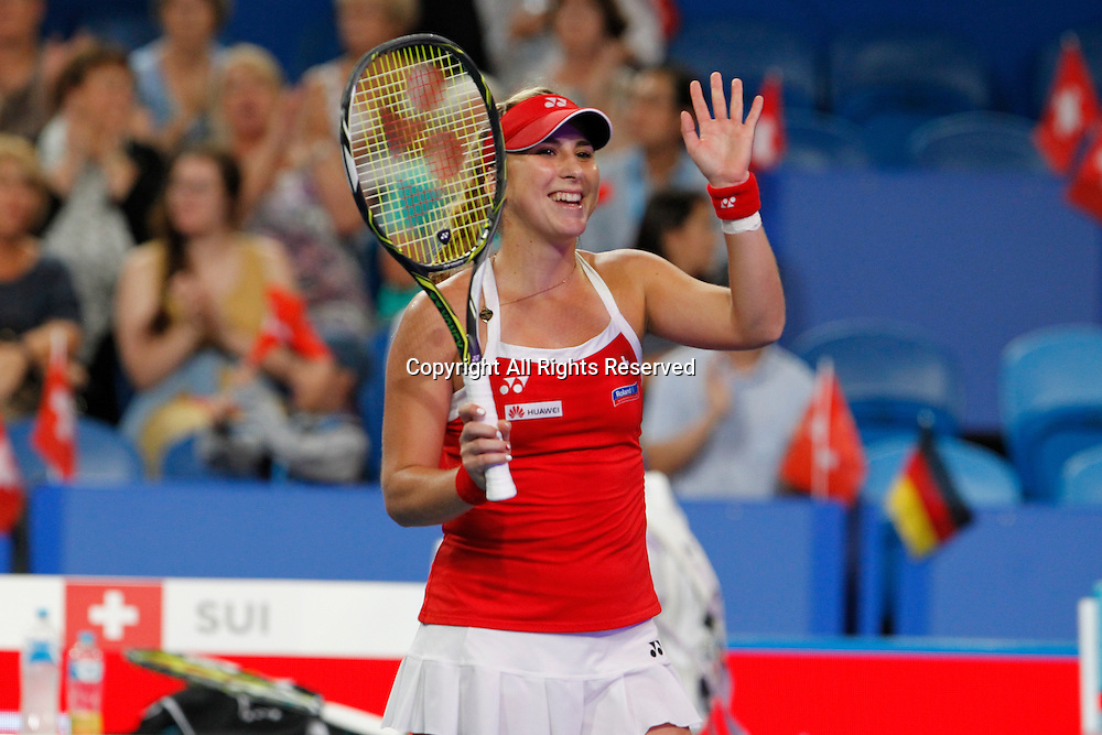04.01.2017. Perth Arena, Perth, Australia. Mastercard Hopman Cup International Tennis tournament. Belinda Bencic (SUI) waves to the crowd after she won her match against Andrea Petkovic (GER)  6-3, 6-4.