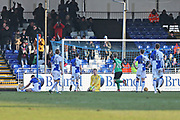 Bristol Rovers let in a goal by  Scunthorpe United  Duane Holmes (19)1-0 second half  during the EFL Sky Bet League 1 match between Bristol Rovers and Scunthorpe United at the Memorial Stadium, Bristol, England on 24 February 2018. Picture by Gary Learmonth.