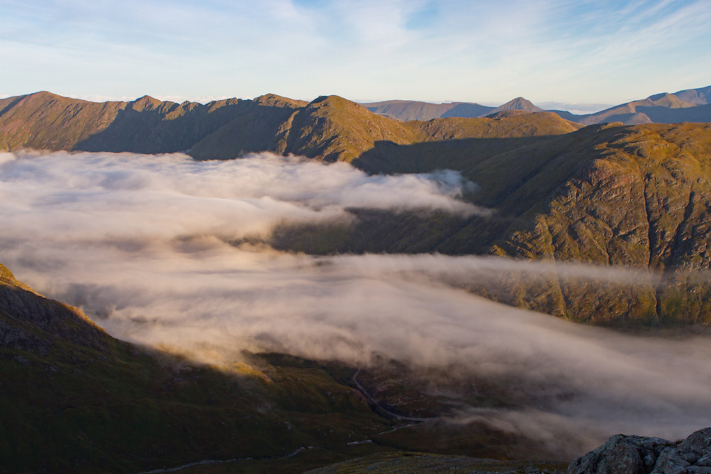 Morning mist in the Valley looking down into the Pass of Glencoe from Stob Coire Raineach