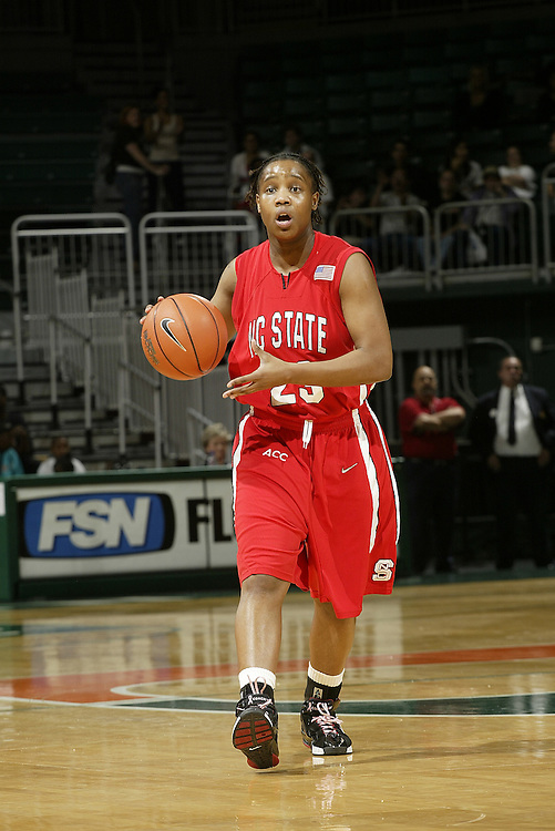 North Carolina State guard Shayla Fields in action during the Wolfpack's 77-53 victory over the Miami Hurricanes on February 24, 2007 at the BankUnited Center in Coral Gables, Florida.